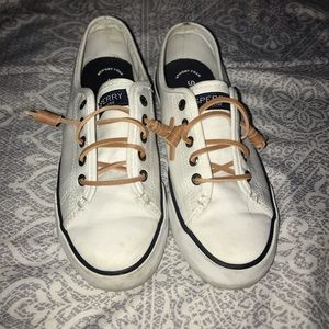 White Sperry converse with box